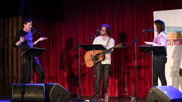 <em>Rolling Stone</em> writer Rob Sheffield lends his musical expertise to Jonathan Coulton's parody game about summer songs on Ask Me Another at the Bell House in Brooklyn, New York.