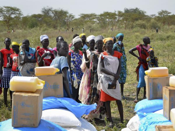 Waiting in line for rations at a World Food Program distribution in South Sudan.