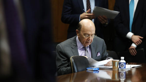 Commerce Secretary Wilbur Ross prepares ahead of a Senate hearing on tariffs on June 20, in Washington, D.C.