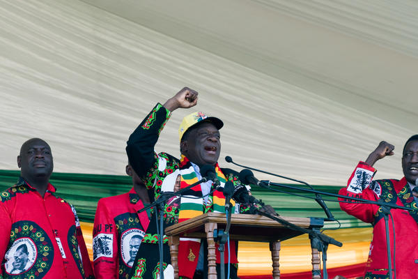 President Emmerson Mnangagwa gives a speech at the ZANU-PF rally at the White City Stadium in Bulawayo, Zimbabwe Saturday. Shortly after his speech ended, there was an explosion.