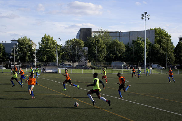 Young soccer players practice at the Sarcelles A.A.S. complex in Sarcelles, France.