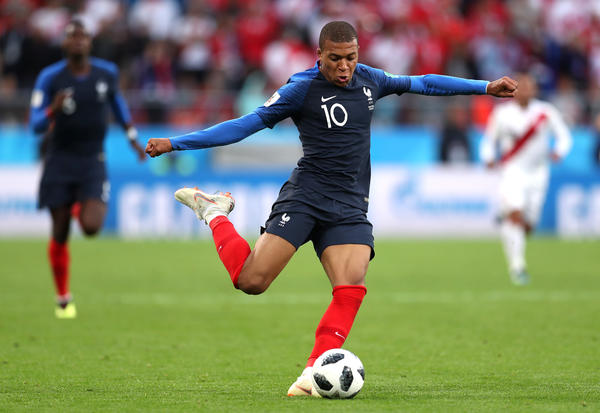 Kylian Mbappe plays during the 2018 World Cup match between France and Peru at Ekaterinburg Arena on Thursday. He scored the winning goal in the 1-0 match.