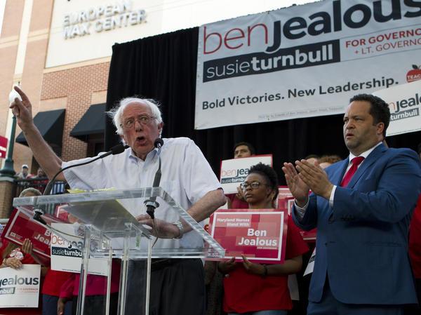 Sen. Bernie Sanders, I-Vt., stumps for Maryland gubernatorial candidate Ben Jealous in Silver Spring, Md.