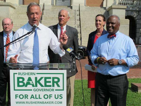 Former Maryland Gov. Martin O'Malley (D) front left, endorses Prince George's County Executive Rushern Baker, right, for governor.