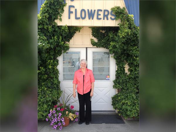 Undated photo of Barronelle Stutzman in front of her Richland, Washington flower store.