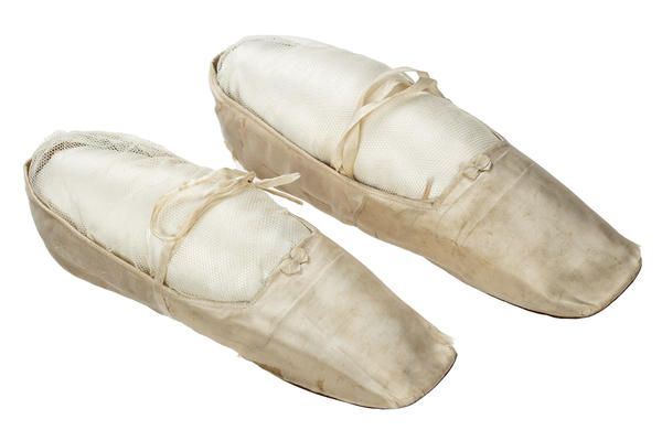 This pair of 1838 wedding slippers was designed for very limited use.