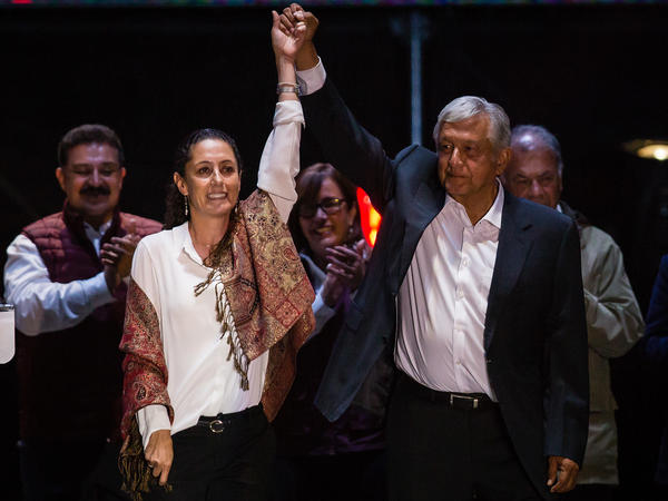 "Claudia Sheinbaum, the leading candidate for mayor of Mexico City and Andres Manuel Lopez Obrador, the frontrunner for president, attend the final event of the 2018 campaign in Mexico City on Wednesday. ""Just because I might look like a skinny scientist doesn't mean I'm not going to crack down on crime here. I will,"" she told a crowd recently."
