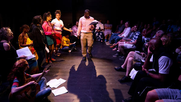 """Alvin, played by LJ Moses, performs """"We Can't Stop,"""" during the musical <em>East of the River</em> at the Anacostia Arts Center Friday night."""
