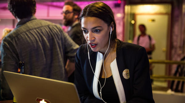 Progressive challenger Alexandria Ocasio-Cortez celebrates at a victory party last week. America's lawmakers skew older, and they skew male — but this year's elections may reverse that trend.