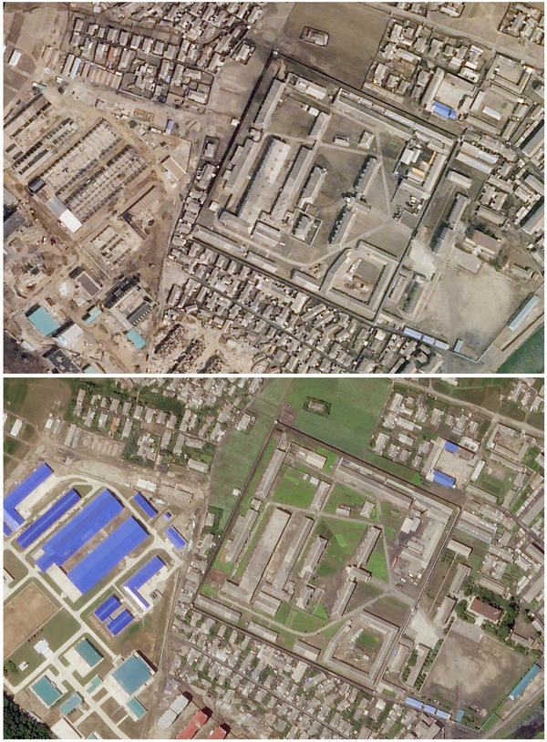This combination of satellite images taken on April 1 (top), and June 29 shows development at a North Korean missile production facility in the city of Hamhung.