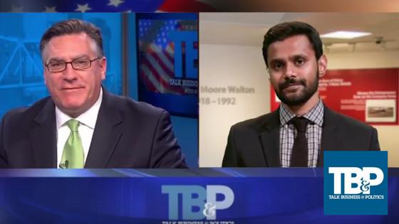 Talk Business' Roby Brock (left) with Economist Mervin Jebaraj (right)