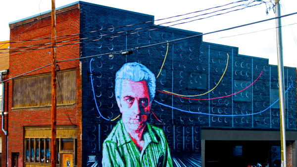 A mural of Robert Moog in Asheville, N.C., where Moog Music is based.