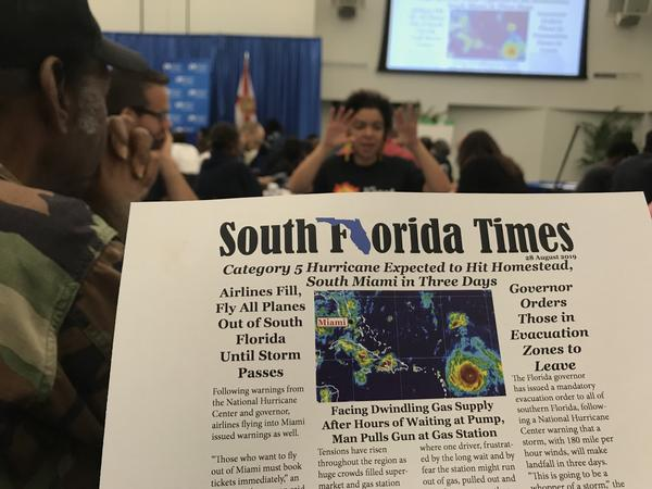 One of the prop newspapers used in a simulation designed to help people in Broward and Miami-Dade prepare their neighborhoods for future storms.