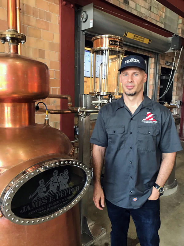 Amir Peay recently opened a distillery in Lexington, Ky., at the site of the James E. Pepper distillery. About 10 percent of his revenues come from exports, and Peay worries that the European Union's tariffs will hurt his overseas business.
