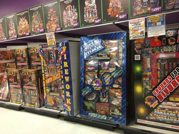 A display at a fireworks chain store outside of Columbus.