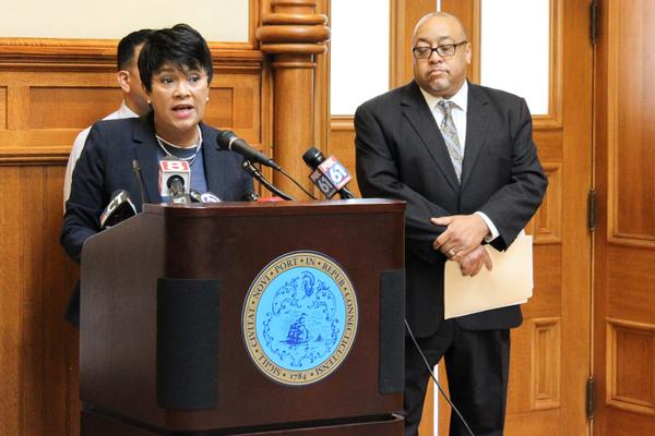 New Haven Mayor Toni Harp speaks at a press conference on Monday in New Haven. Darnell Goldson, president of the New Haven Board of Education, stands to the right.