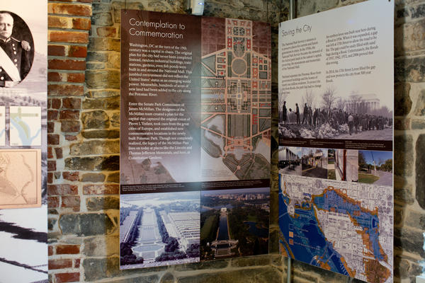 An exhibit inside the Lockkeeper's House detailing the process of planning Washington, D.C.'s layout (left) and the steps that were taken to prevent floods in the city (right).