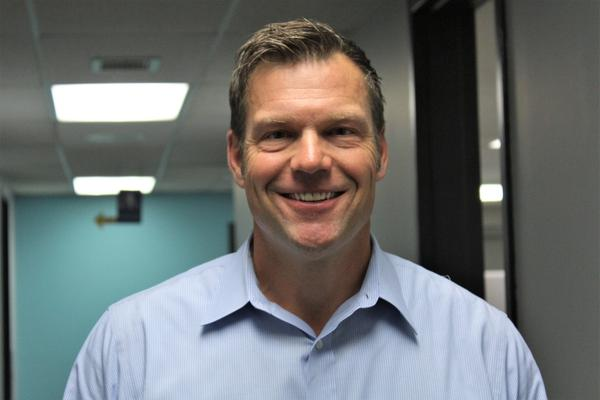 "Kansas Secretary of State Kris Kobach would ""like to try a more positive, affirmative leadership"" should he become governor of the state."