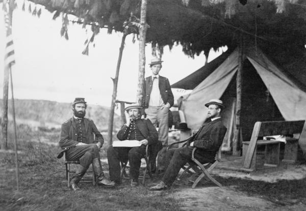 "Officers of the 5th U.S. Cavalry near Washington, D.C., in 1865. Julia Ward Howe was inspired to write ""The Battle Hymn of the Republic"" after a visit with Union troops in the thick of the Civil War."