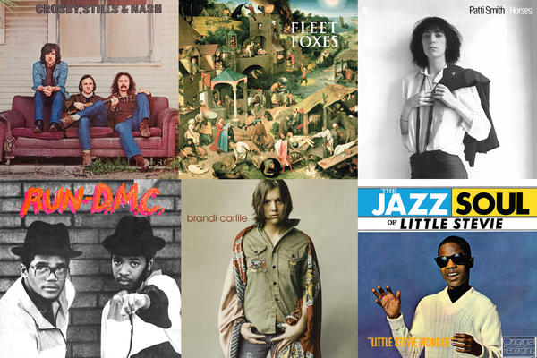 Albums clockwise from upper left: Crosby, Stills & Nash <em>self-titled</em>, Fleet Foxes, <em>self-titled, </em>Patti Smith, <em>Horses,</em> Stevie Wonder, <em>The Jazz Soul of Little Stevie, </em>Brandi Carlile, <em>self-titled</em>, Run-D.M.C., <em>self-titled.</em>