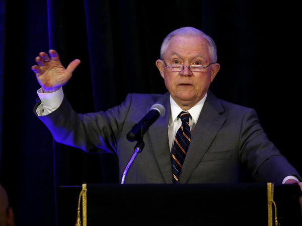 Attorney General Jeff Sessions speaks at the Association of State Criminal Investigative Agencies event in May. On Tuesday, the departments of Justice and Education announced that they have retracted documents that advised schools on how they could legally consider race in admissions and other decisions.