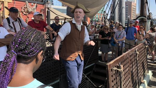 Tourists gathered earlier this week at the Boston Tea Party Ships and Museum to relive a moment in history.