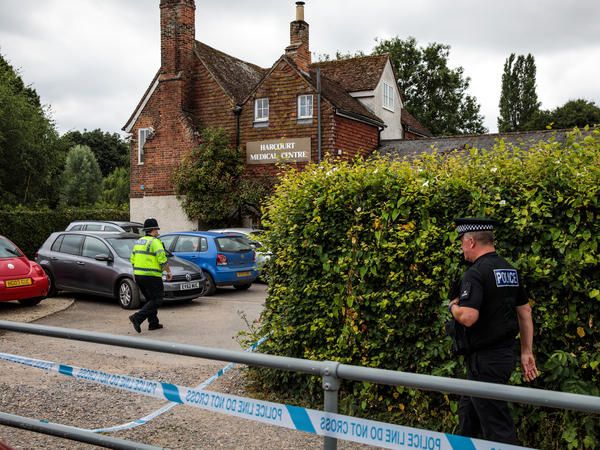 Police officers on the scene outside Harcourt Medical Centre in Salisbury, thought to be connected to a man and woman in Amesbury who are in the hospital after being exposed to what police confirmed was Novichok.