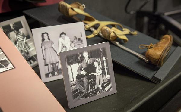 """A image of FDR at a section of the exhibit titled """"Society's Attempt at Erasing Disability."""" (Robin Lubbock/WBUR)"""