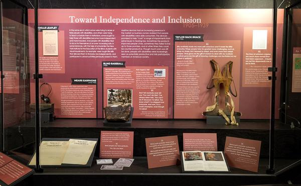 """A section of the exhibit titled """"Towards Independence and Inclusion."""" (Robin Lubbock/WBUR)"""
