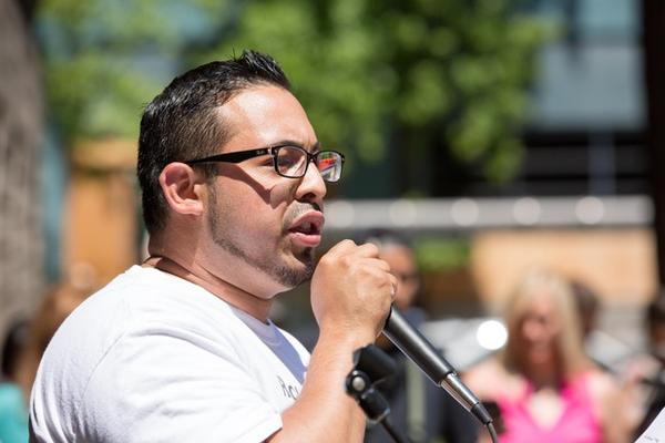 <p>Oregon state Rep. Diego Hernandez speaks at a rally in Portland, Sunday, June 24, 2018.</p>