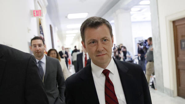 Peter Strzok, a onetime FBI deputy assistant director of counterintelligence, heads to a private meeting with the House Judiciary Committee last month.