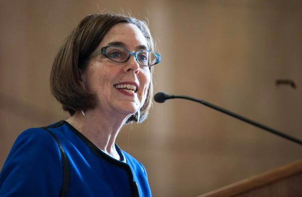 <p>Oregon Gov. Kate Brown gives a speech in this May 2015 file photo.</p>
