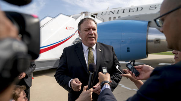 U.S. Secretary of State Mike Pompeo speaks to reporters following two days of meetings with a North Korean senior ruling party official, before departing Pyongyang, North Korea, on Saturday. Pompeo did not meet with North Korean leader Kim Jong Un.
