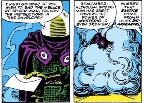 Panels from <em>The Amazing Spider-Man</em> #13 (June 1964): Mysterio's quilting is crazy.