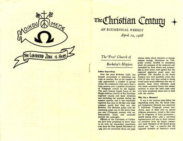 "This 1968 flier from the Berkeley Free Church, one of the most well-known submarine churches, shows one of the first printed uses of their submarine emblem. Two articles are also reprinted: Robert A. McKenzie, ""The 'Free' Church of Berkeley's Hippies,"" and Elsie Thomas Culver, ""The Hippies' Pastor is Ordained."""