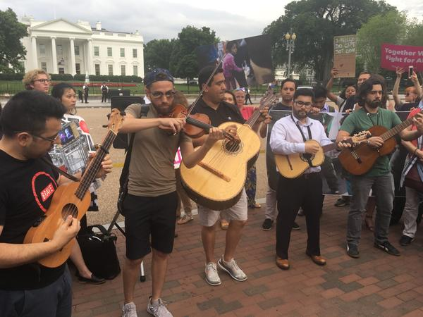 Los Gallos Negros perform at a rally in front of the White House in Washington, D.C. on Thursday, June 21, 2018.