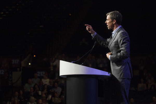 Congressman Beto O'Rourke of El Paso gestures to the crowd during the Texas Democratic Convention in Fort Worth last month.