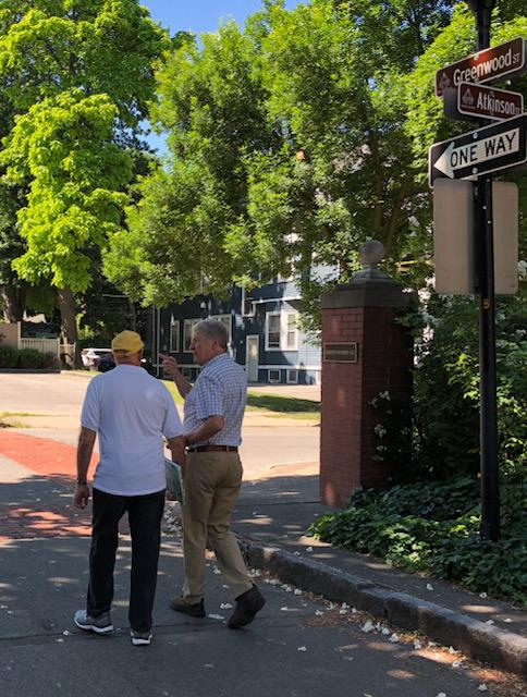 Rob Goodling (l) and Jim DeVinney (r) at the entrance of Greenwood St.