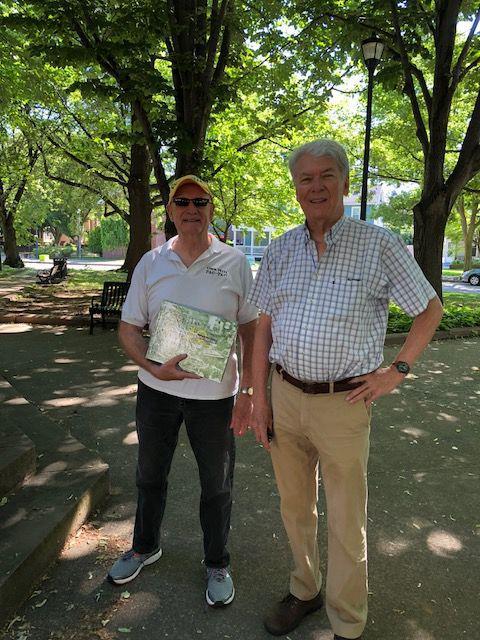 Rob Goodling (l) and Jim DeVinney near Corn Hill gazebo