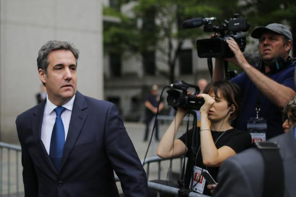 Michael Cohen, former personal lawyer for and confidant to President Trump, exits the United States District Court Southern District of New York on May 30.