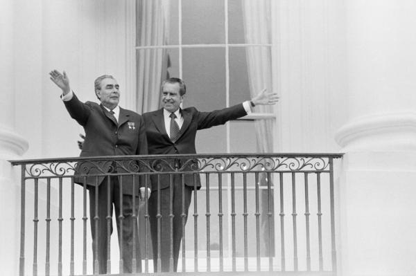 President Richard Nixon hosts Soviet leader Leonid Brezhnev at the White House in 1973. Nixon made his name as a Cold Warrior. But as president, he sought a working relationship with the Soviets, which led to his policy of detente and important arms control treaties.