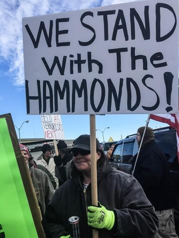 <p>Protesters object to the sentencing of Oregon ranchers Dwight and Steven Hammond during a rally in Burns, Oregon, on June 2, 2016.</p>