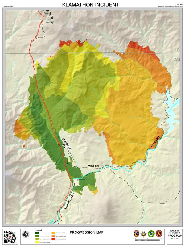 A map of how the Klamathon fire progressed from its start on July 5 till July 9.