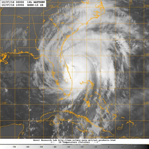 A satellite image of Hurricane Mathew in 2016.