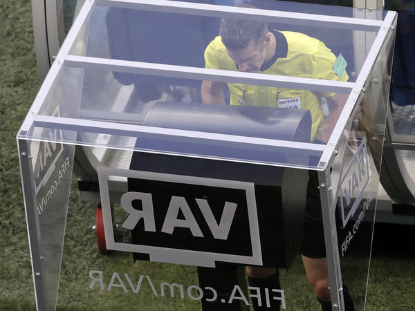 Referee Matt Conger watches the Video Assistant Referee system during the World Cup match between Nigeria and Iceland in Volgograd, Russia, on June 22.