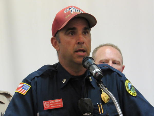 CalFire Team 4 Chief of Operations Mark Brown answers questions during the final public briefing on the Klamathon fire, which burned 36,500 acres along the Oregon-California border.