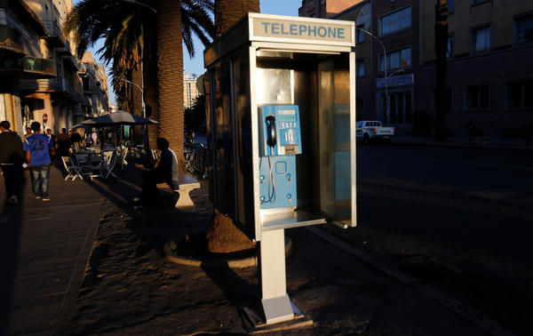 A public telephone booth in Asmara, Eritrea. Ethiopians and Eritreans are calling each other this week as phone lines that had been dormant for decades came to life.