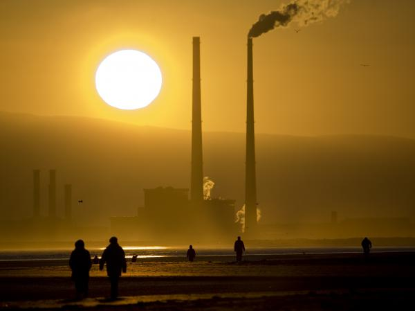 Smokestacks loom over Bull Island, northeast of Dublin, in 2008.