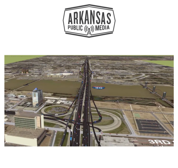 A rendering of the proposed 30 Crossing project through Little Rock and North Little Rock.
