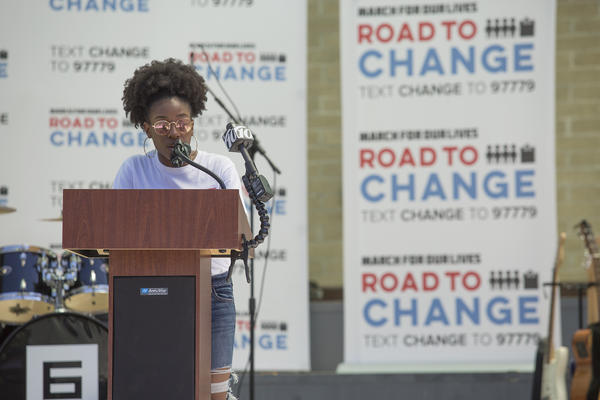 """Tyah-Amoy Roberts was one of several Parkland shooting survivors who participated in the March For Our Lives """"Road To Change"""" event in St. Pete Thursday."""